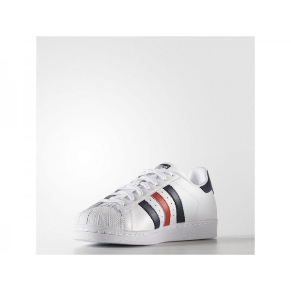 Adidas Herren Superstar Originals Schuhe Verkaufen - White/Collegiate Navy/Red
