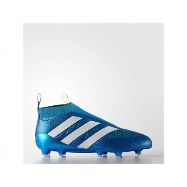 Fußballschuhe Adidas 'ACE 16+ PURECONTROL Firm Ground' Shock Blau/Semi Sonnen Slime/Weiß Schuhe für Mädchen