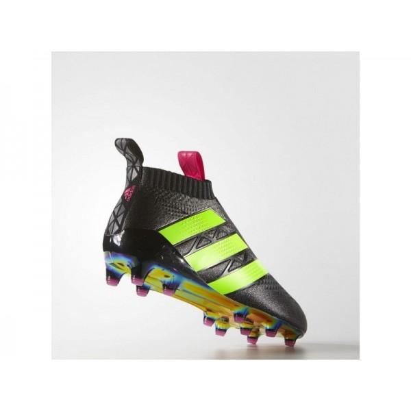 Fußballschuhe Adidas 'ACE 16+ PURECONTROL Firm Ground' Schwarz/Shock Rosa/Solar Green Schuhe für Mädchen