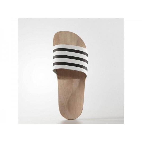 ADILETTE WOOD SLIPPER adidas Damen Originals Schuhe - Off White/Kern Schwarz/Weiß