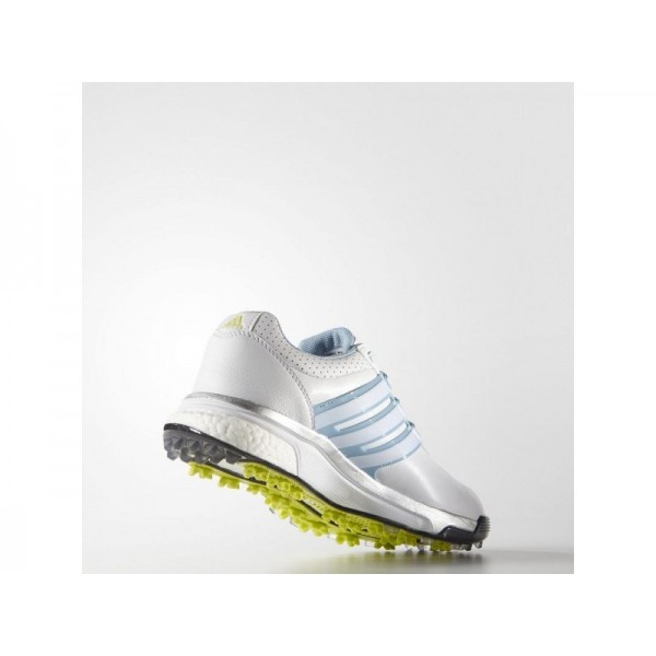 Adidas Damen Adicross Golf Schuhe Verkaufen - White/Soft Blue/Sunny Lime Adidas F33283